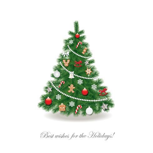 Kerstboom versierd met verschillende speelgoed en peperkoekkoekjes. vector