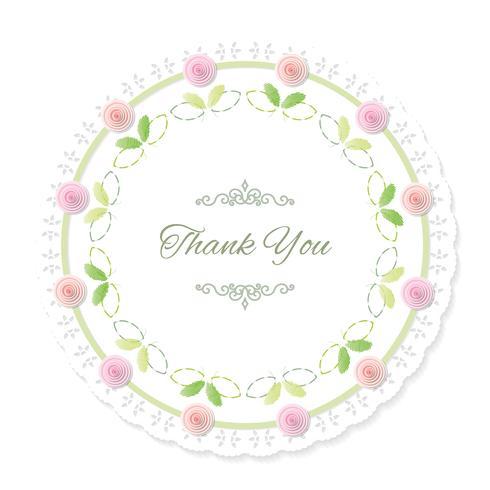 Rond kleedje frame versierd met rozen. Dank je. vector