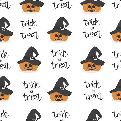Halloween-pompoen die het naadloze patroon van de heksenhoed draagt vector