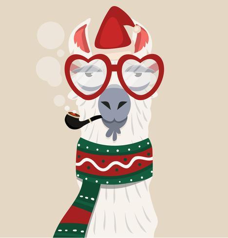 Alpaca met kerstmuts en sjaal vector