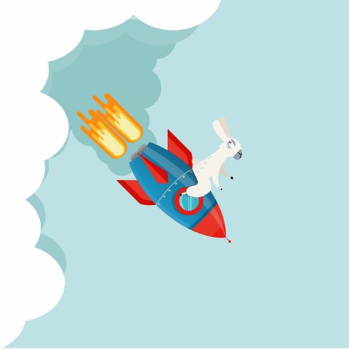 alpaca bovenop een raket vector