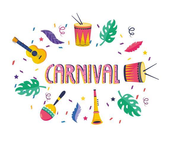 Carnaval-poster met muziekinstrumenten en veren vector