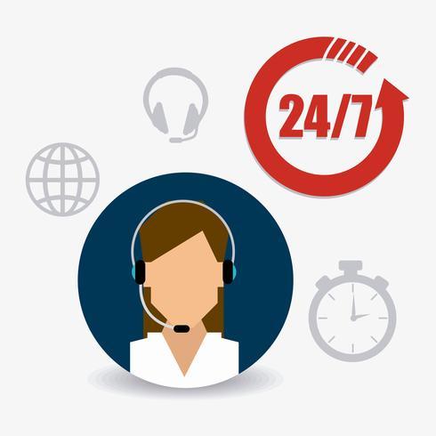 Vrouwelijke klantenservice 24-7 ondersteuning vector