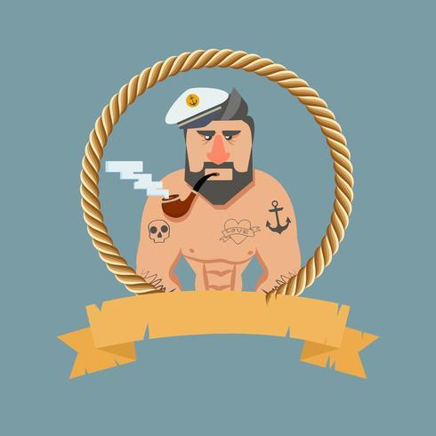 Vintage zeeman met een pijp vector
