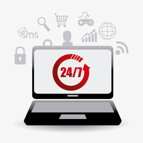 Laptop met 24-7 klantenservice-ondersteuning vector