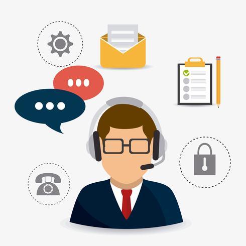 Mannelijke klantenservice ondersteuning agent door office-pictogrammen vector