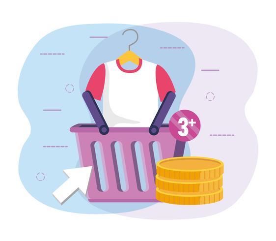 Winkelmandje met shirt en munten vector