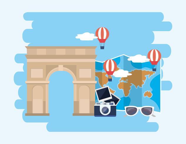 Arc de Triomphe met camera en luchtballonnen vector