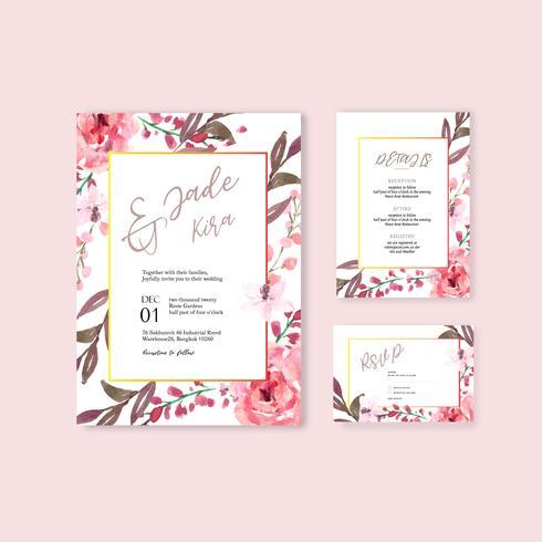 Roze bloemen bruiloft uitnodigingskaartenset vector