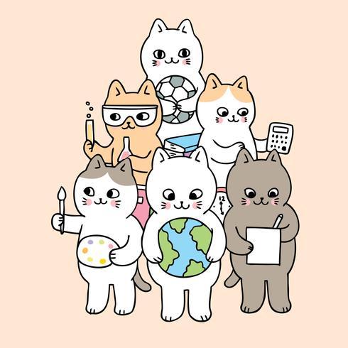 Cartoon schattig terug naar school doodle katten vector