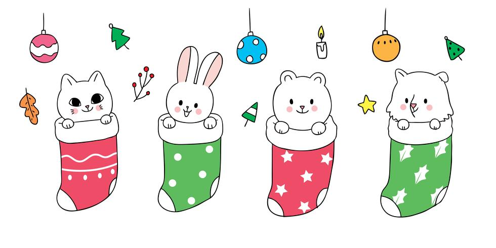 Kerstmis, babydieren in sokken vector