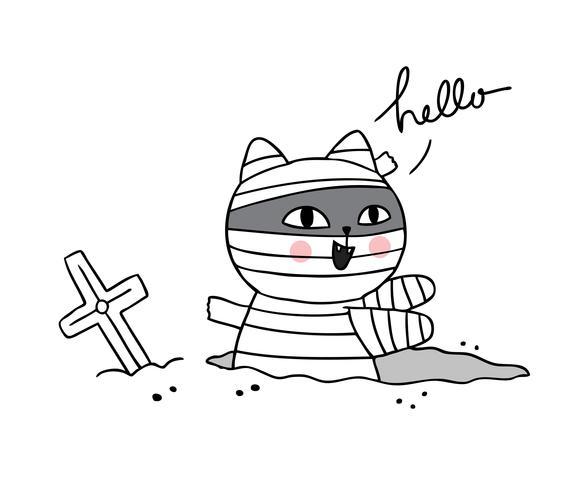 Halloween, Cat mummie vector