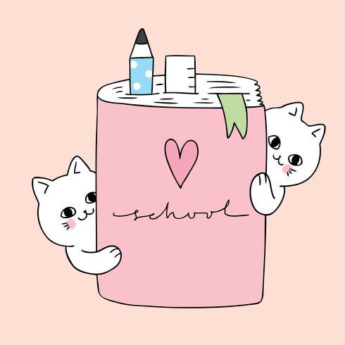 Cartoon schattige katten en notitieboek vector