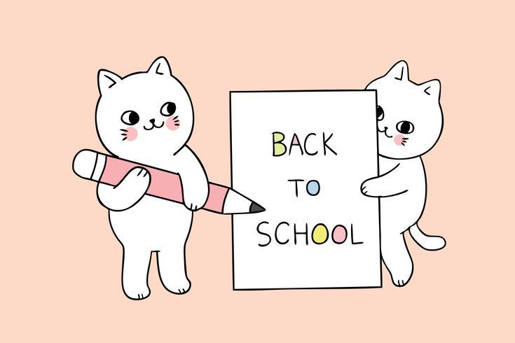 terug naar school kat schrijfpapier vector