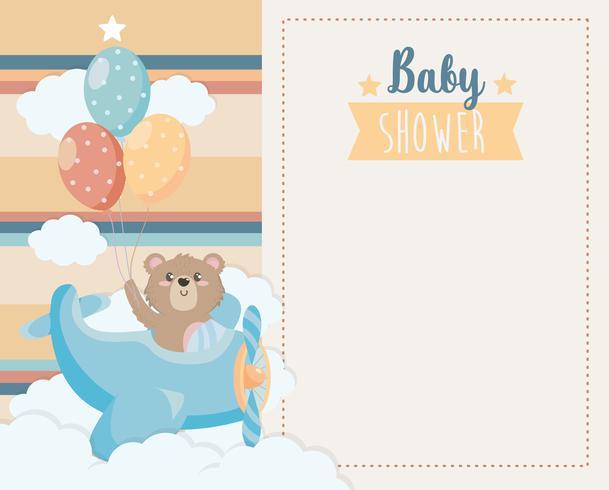 Kaart van de baby douche met traan beer in vliegtuig met ballonnen vector