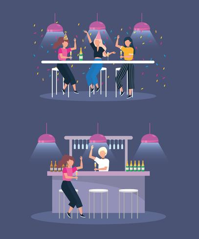 Reeks jonge vrouwen die bij bar bij partij drinken vector