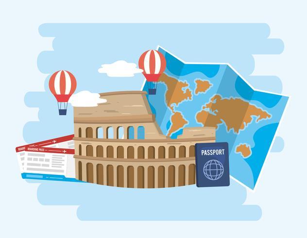 Colosseum met kaart en paspoort met vliegtuigtickets vector