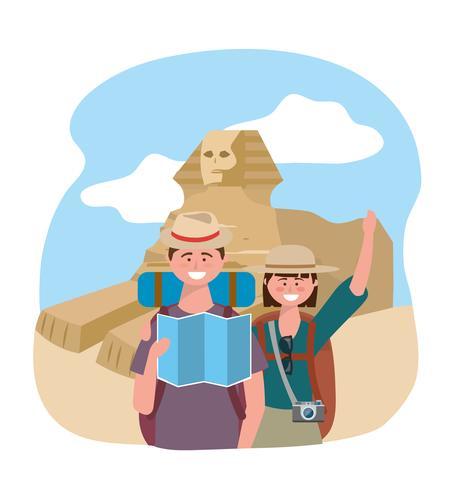 Toeristenpaar voor Egyptische sfinx vector