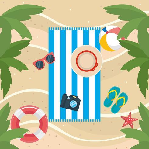 Luchtfoto van handdoek op zand met hoed, camera, strandbal, sandalen vector