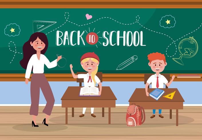 Vrouwelijke leraar met studenten bij bureau met terug naar schoolbericht vector