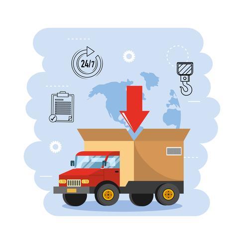 Vrachtwagentransport met servicesymbolen vector