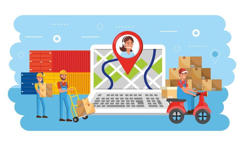 Laptop met locatietracking en call center agent vector