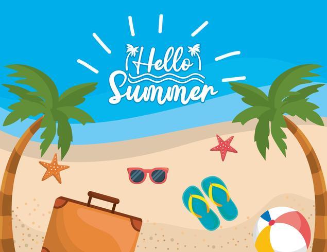 Hallo bericht op strand met koffer en sandalen op zand vector