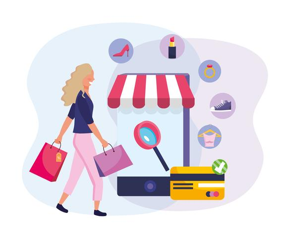 Vrouw die online met smartphone en kleinhandelspictogrammen winkelt vector