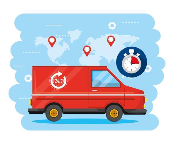 Bestelbus en stopwatch met globale kaart met locaties vector