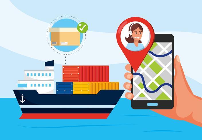 Schip transport en hand met smartphone met gps vector