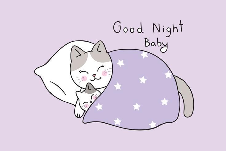 moeder en baby kat slapen vector