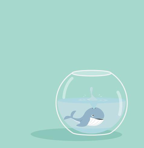 Walvis spray van vissenkom vector