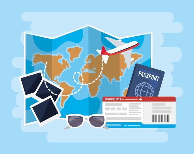 Wereldkaart met foto's, paspoort, vliegtuig en zonnebril vector