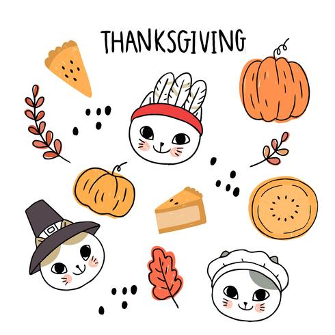 thanksgiving katten vector