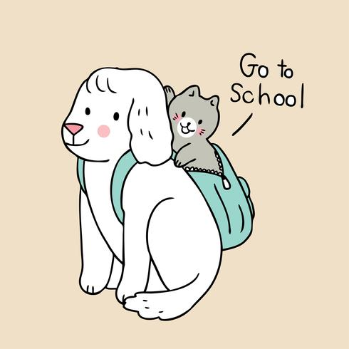 terug naar school kat en hond gaan naar school vector