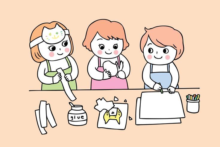 studenten in de kunstklasse vector