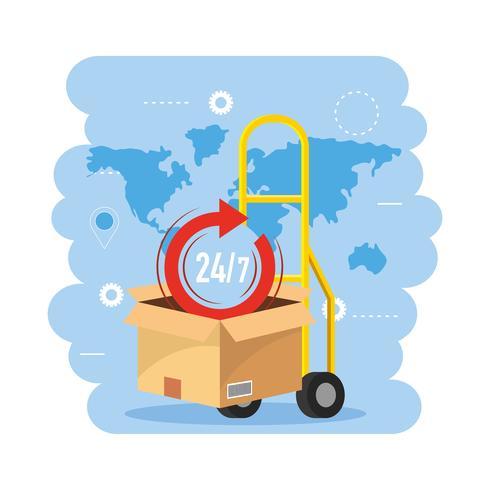 Steekwagen met doos en 24-uurs symbool vector