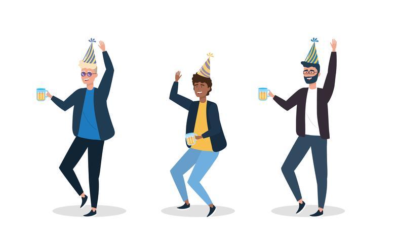 Set van verschillende mannen dragen van hoeden dansen op feestje vector