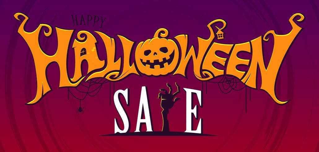 Halloween verkoop tekstbanner vector