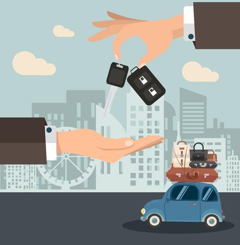 De autosleutel van de zakenmanholding met miniauto vector