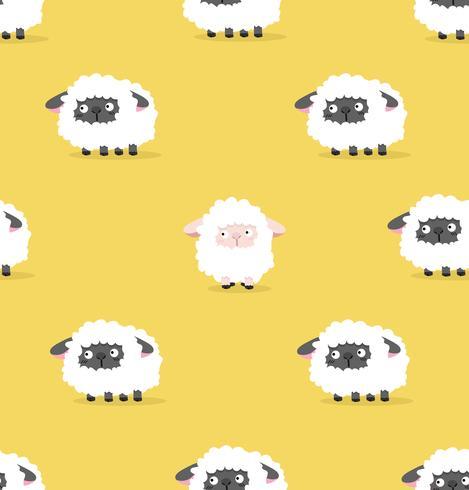 witte schapen en zwarte schapen patroon vector