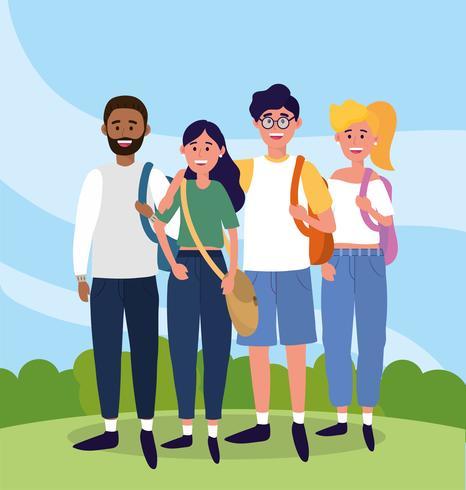 Universiteitsvrienden in vrijetijdskleding vector