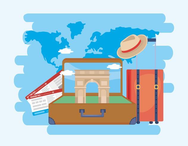Arc de triomphe in koffer met vliegtuigtickets en hoed vector