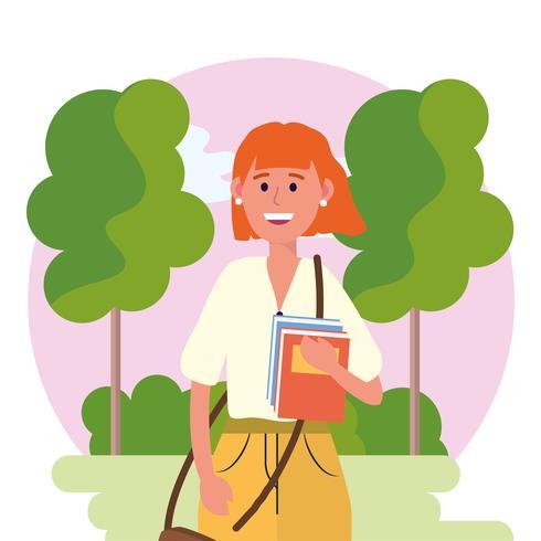 Universitaire vrouw met boeken in de natuur vector
