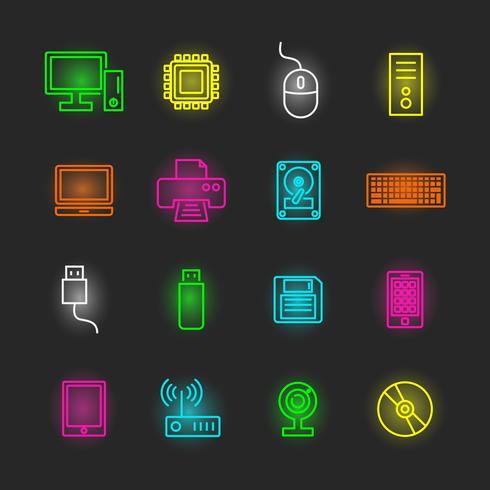 computer en apparaat neon icon set vector