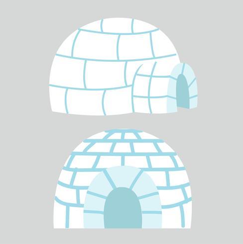 Igloos ijshuis in plat design vector