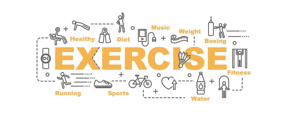 oefenen banner met lijntekeningen apparatuur en fitness pictogrammen vector