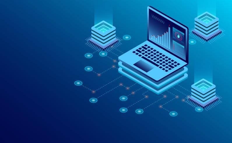 Datacenter serverruimte cloudopslagtechnologie en big data-verwerking vector