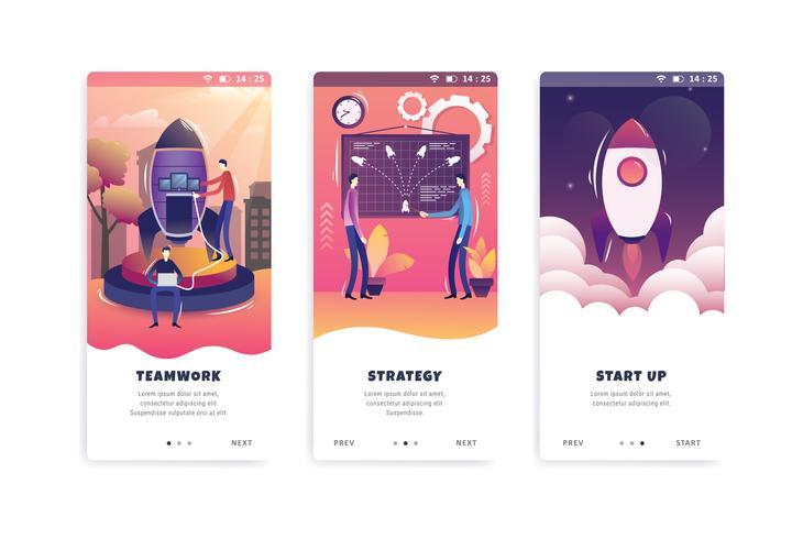 startup concept onboarding scherm gebruikersinterfacekit vector