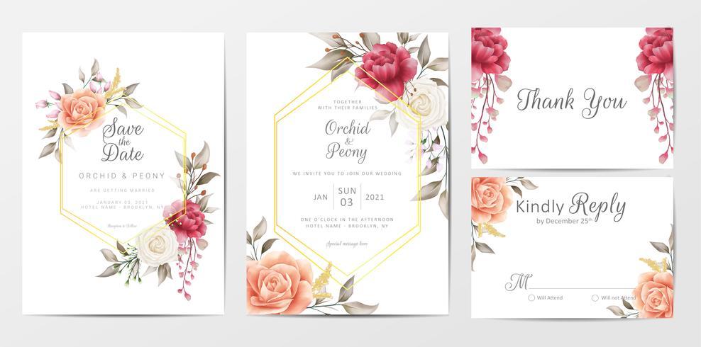 Vintage bloemen bruiloft uitnodigingskaarten sjabloon set vector